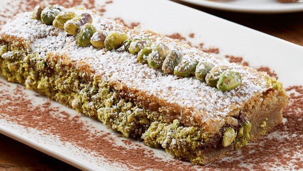 caramelized pistachios and chocolate