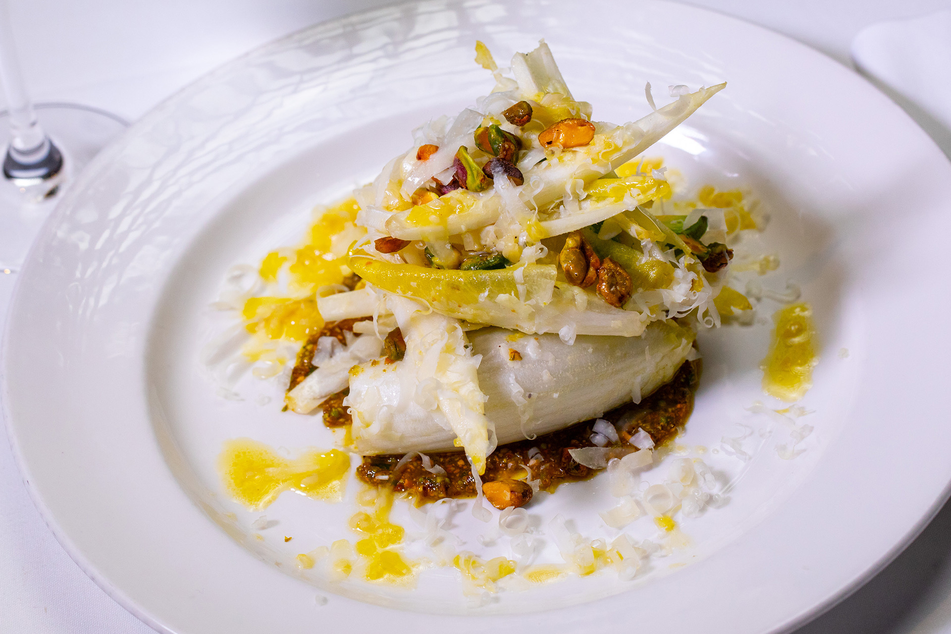 Endive Salad with Avocado Piave and Pistachio Aillade
